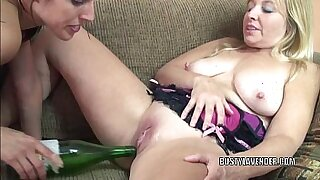 Busty chick fucks first sex with her bottle - Brazzers porno
