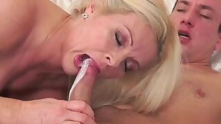 Old ladys mouth cummed in - Brazzers porno