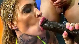 European slut guzzles cum - Brazzers porno
