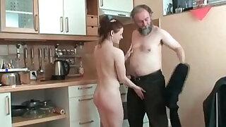 Hot redhead rides a big cock in kitchen - Brazzers porno