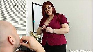 Busty redhead feasting on big tit boss - Brazzers porno