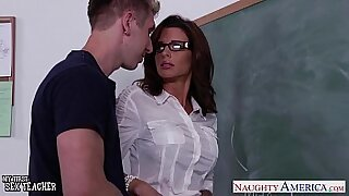 Nice looking teacher fucked in grading room - Brazzers porno
